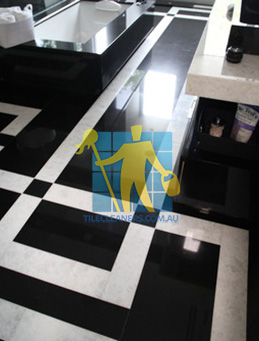 absolute black granite slab floor with white quartzite bands Sydney
