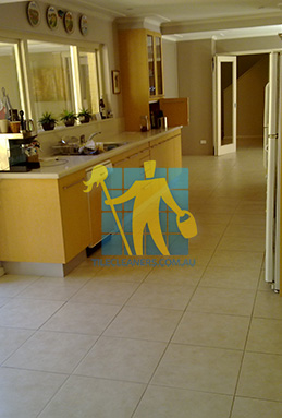 porcelain tiles floor inside furnished home after cleaning kitchen floors Eastern Suburbs