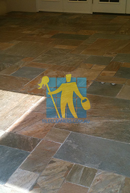 clean slate tiles unsealed after stripping and cleaning Hawkesbury cleaning