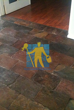 dirty and dull looking slate tiles requires stripping and sealing Hawkesbury cleaning