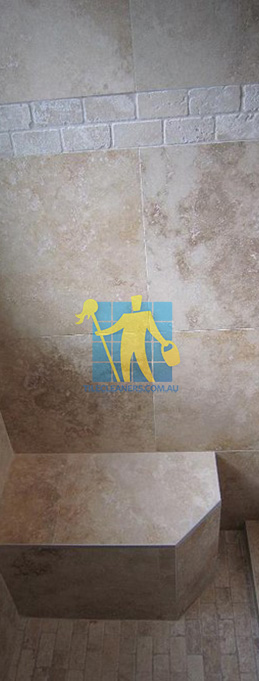 travertine tiles floor wall bathroom natural stone shower with seat Daceyville Eastern Suburbs